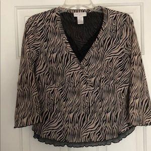Tan/Black Zebra Blouse